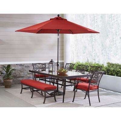 Traditions 9-Piece Aluminum Outdoor Patio Dining Set with Red Cushions