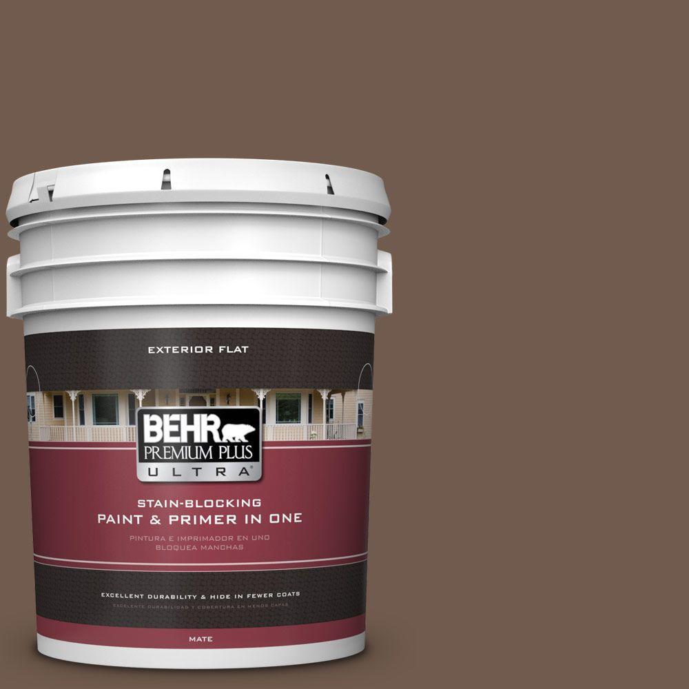 BEHR Premium Plus Ultra 5-gal. #PPF-52 Rich Brown Flat Exterior Paint