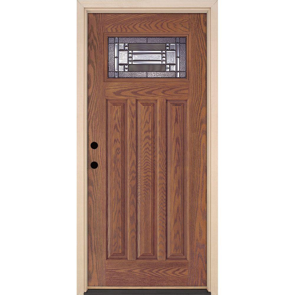37.5 in. x 81.625 in. Preston Patina Craftsman Lite Stained Medium