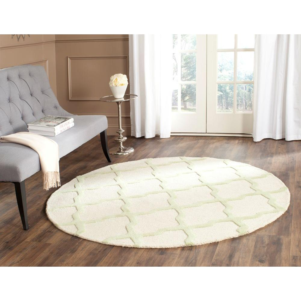 Cambridge Ivory/Light Green 4 ft. x 4 ft. Round Area Rug