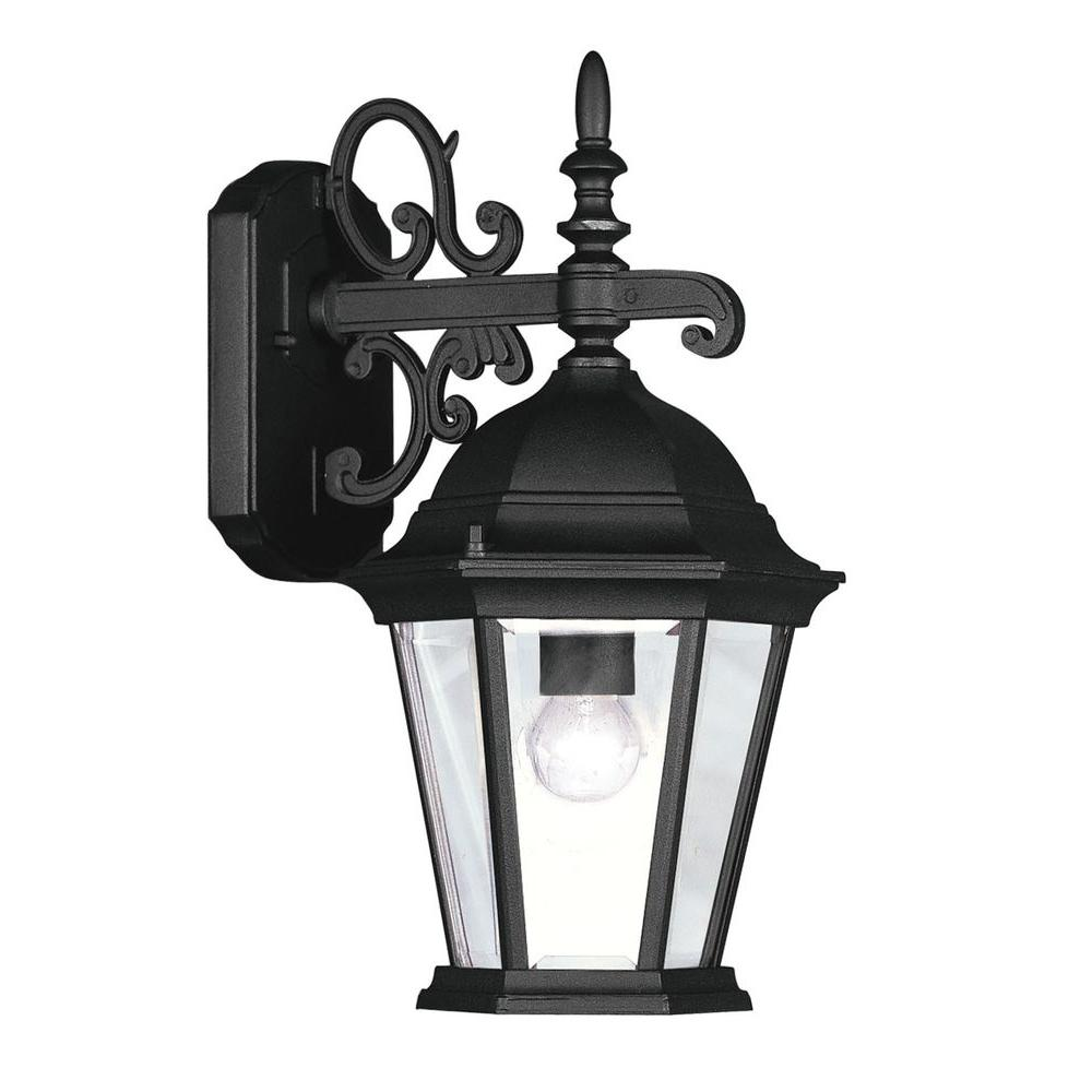Providence 1-Light Black Outdoor Wall Lantern with Clear Beveled Glass