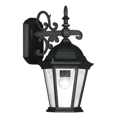 Providence 1-Light Black Outdoor Wall Lantern Sconce with Clear Beveled Glass