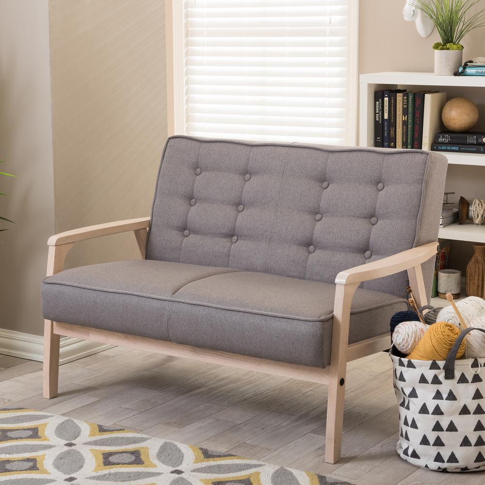 Baxton Studio Timor Mid-Century Gray Fabric Upholstered Loveseat by Baxton Studio