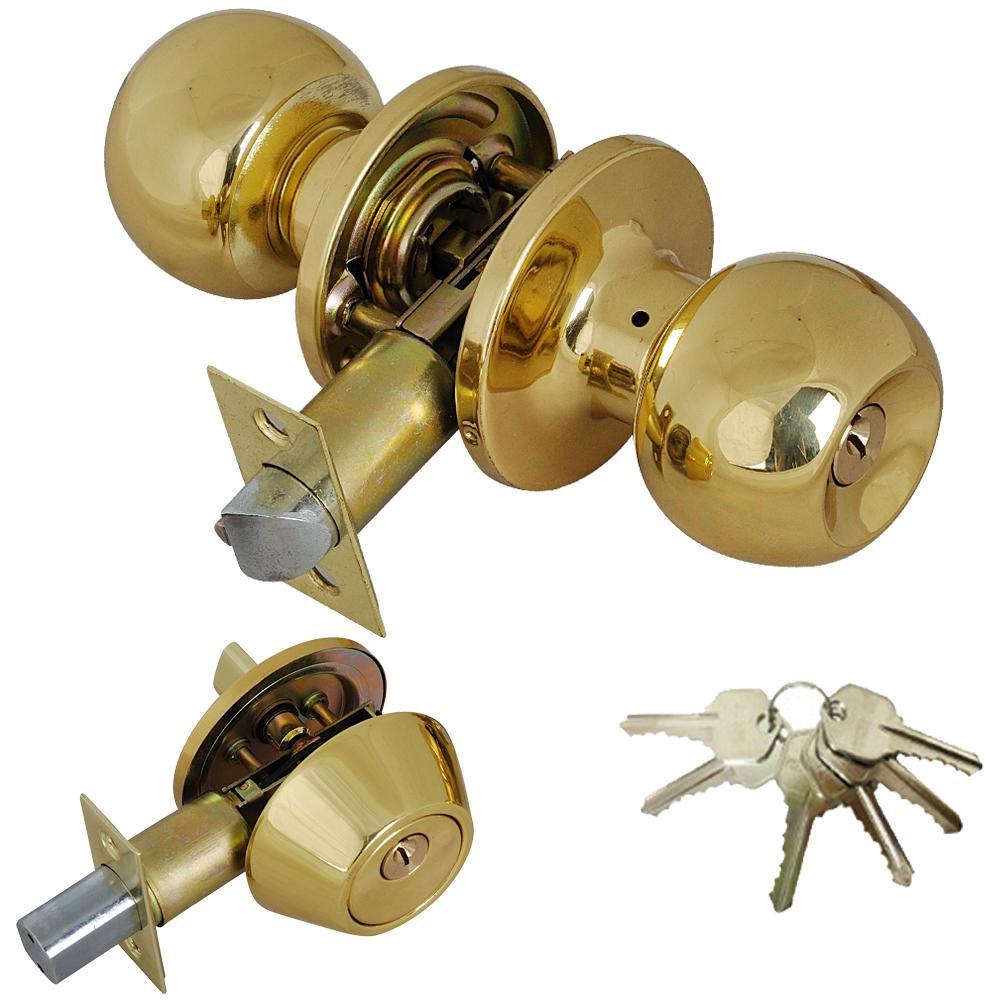 Solid Brass Entry Door Knob Combo Lockset with Deadbolt and 6-Keys, Keyed Alike (12-Pack)