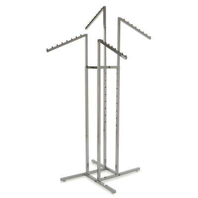 36 in. W x 72 in. H 4-Way Adjustable Height Chrome Garment Rack with 4-Slant Arms