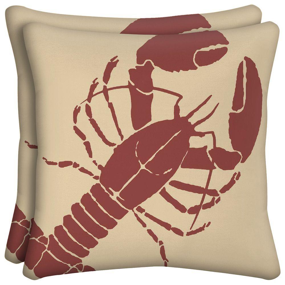 Hampton Bay Lobster Outdoor Pillow (2-Pack)