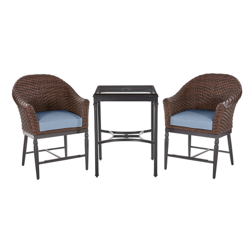 Camden 3-Piece Dark Brown Wicker Outdoor Patio Balcony Height Bistro Set with Sunbrella Denim Blue Cushions
