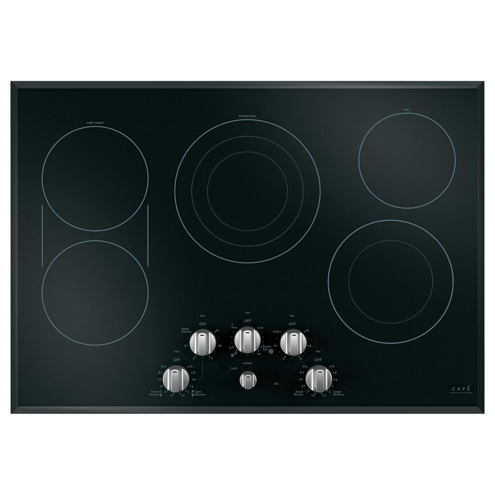 30 in. Radiant Electric Cooktop in Black and Brushed Stainless with