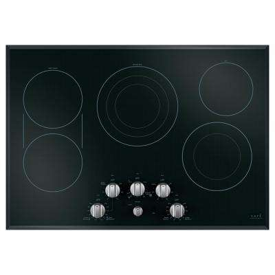 30 in. Radiant Electric Cooktop in Black and Brushed Stainless with 5 Elements including Sync-Burners