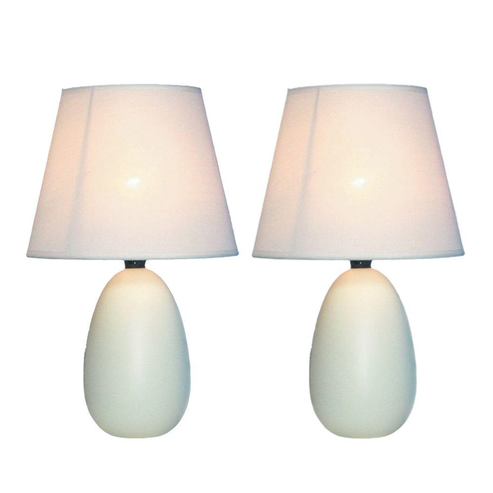 Simple Designs 9.45 in. Off White Mini Egg Oval Ceramic Table Lamp (2-Pack)