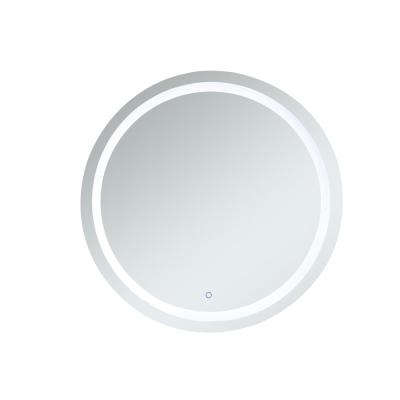 Timeless 42 in. W x 42 in. H Framed Round LED Light Bathroom Vanity Mirror in Silver