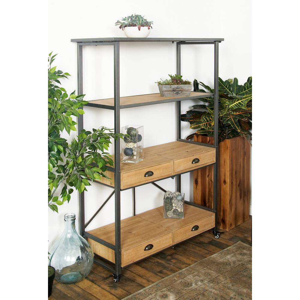 Brown Wood and Iron Etagere Shelf with Four Drawers 45902   The