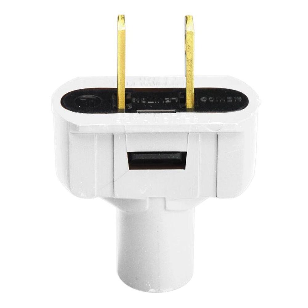 15 Amp 2-Pole White Flat Plug