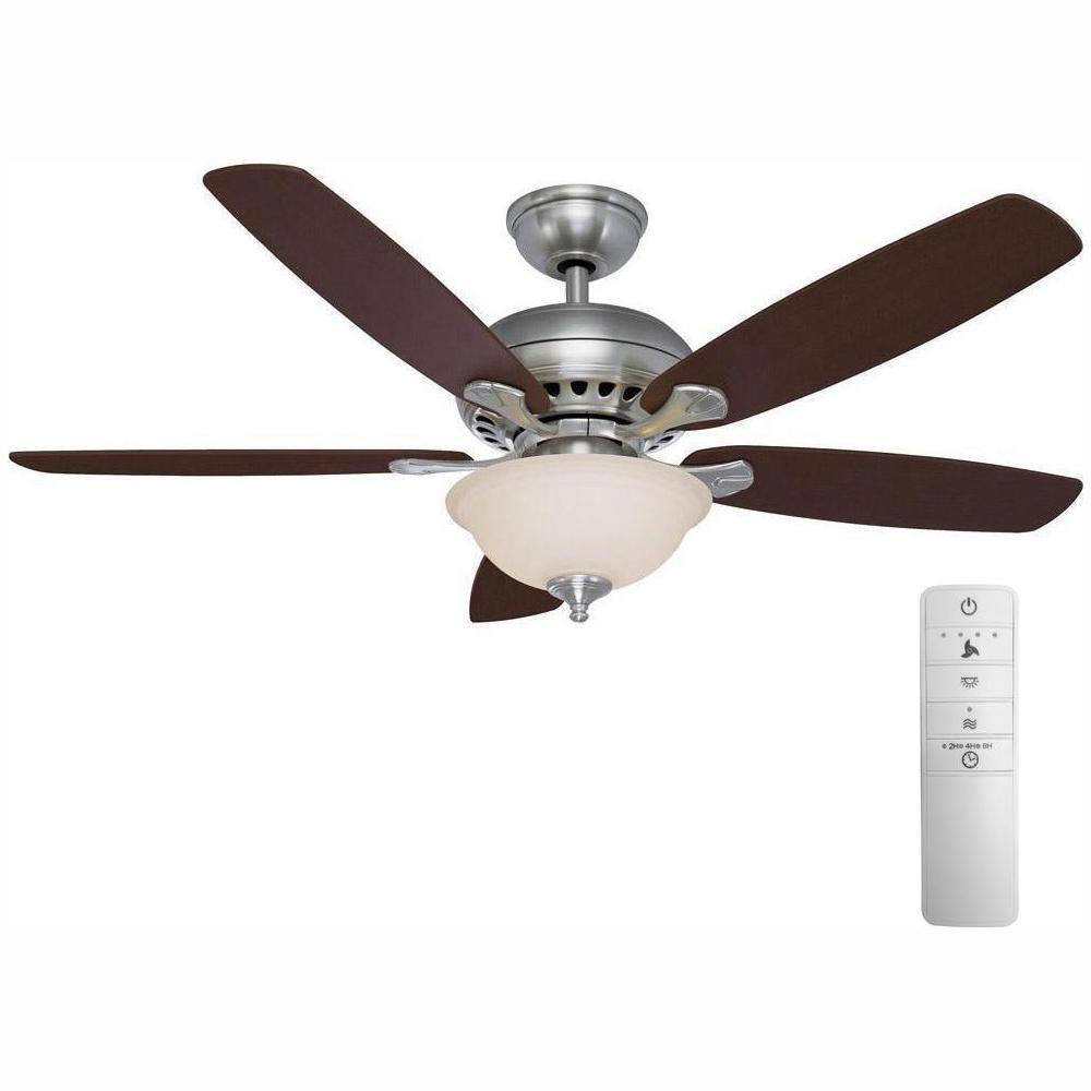 Hampton Bay Southwind 52 in. LED Indoor Brushed Nickel Smart Ceiling on