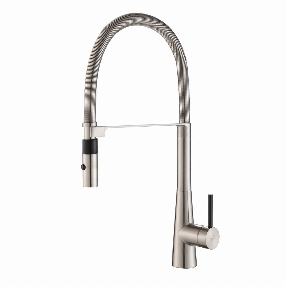 KRAUS KRAUS Crespo Flex Single-Handle Commercial Style Kitchen Faucet with Dual-Function Sprayer in Stainless Steel, Silver