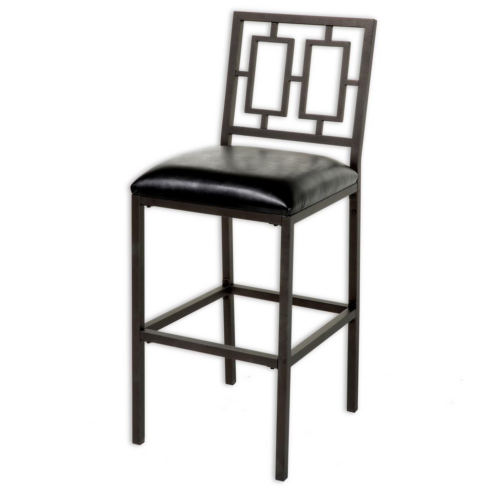 30 in. Lansing Metal Bar Stool with Black Upholstered Seat and
