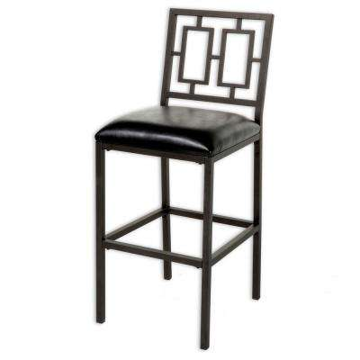 30 in. Lansing Metal Bar Stool with Black Upholstered Seat and Coffee Frame Finish