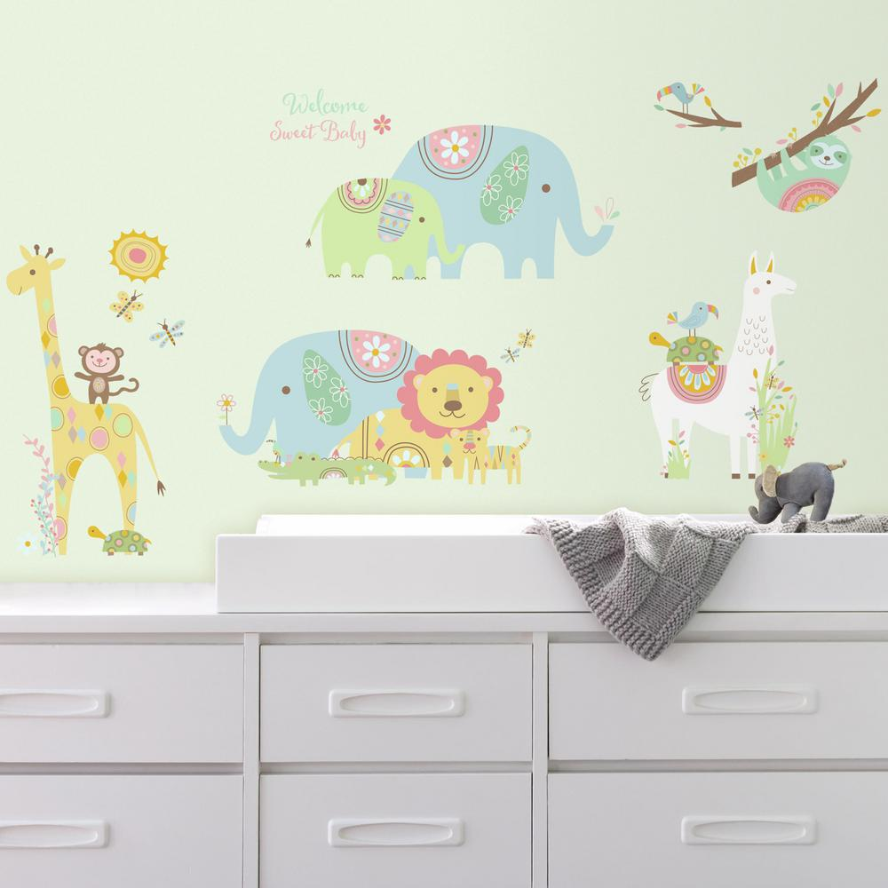 RoomMates In X In Tribal Baby Animals Piece Peel And - Nursery wall decals home depot