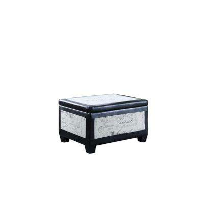 19 in. Old World Beige and Espresso Bonded Leather Accent Trim Storage Ottoman with 2-Seating