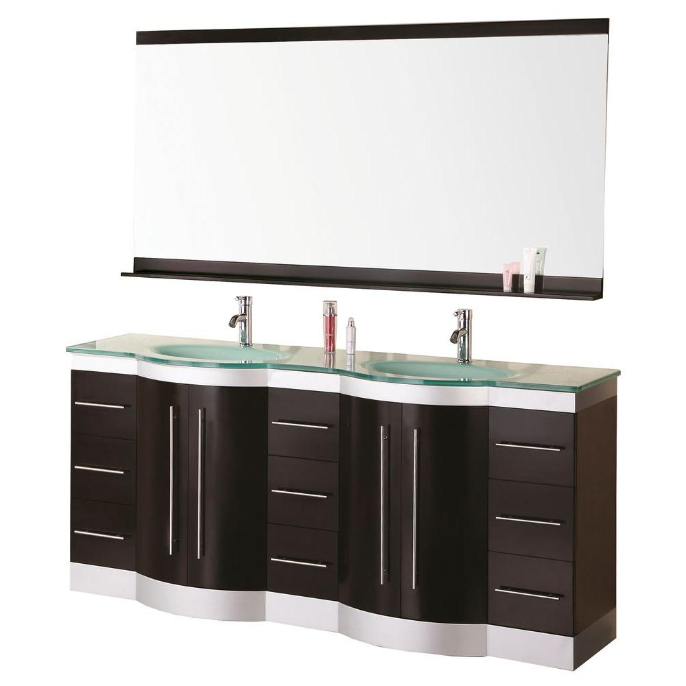 Design Element Jade 72 In. W X 22 In. D Vanity In Espresso