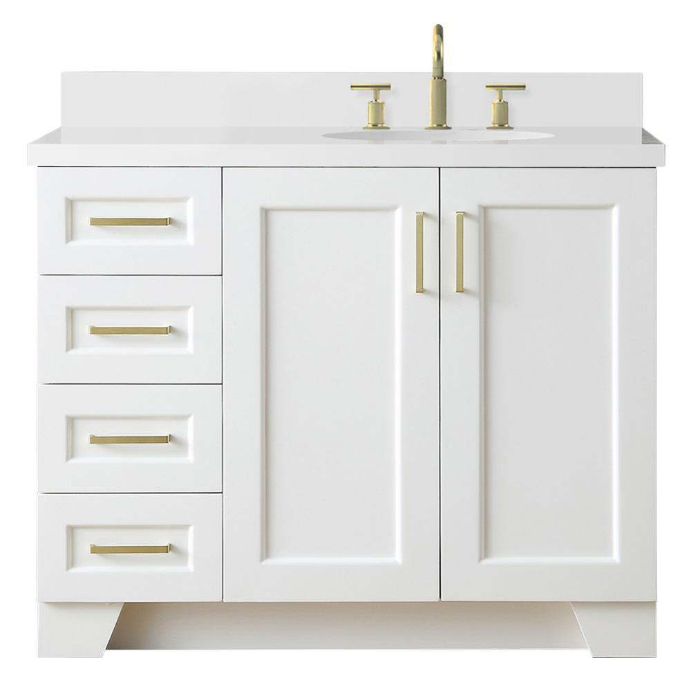 Ariel Taylor 43 in. W x 22 in. D Bath Vanity in White with Quartz Vanity Top in White with Right Offset White Oval Basin