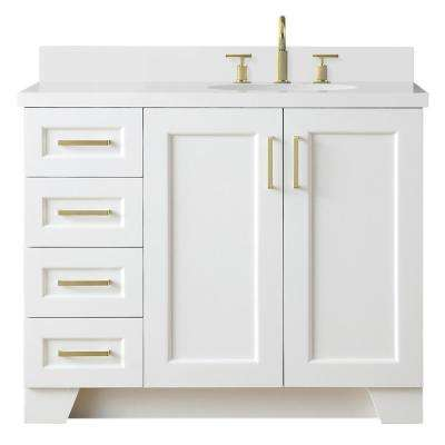 Taylor 43 in. W x 22 in. D Bath Vanity in White with Quartz Vanity Top in White with Right Offset White Oval Basin