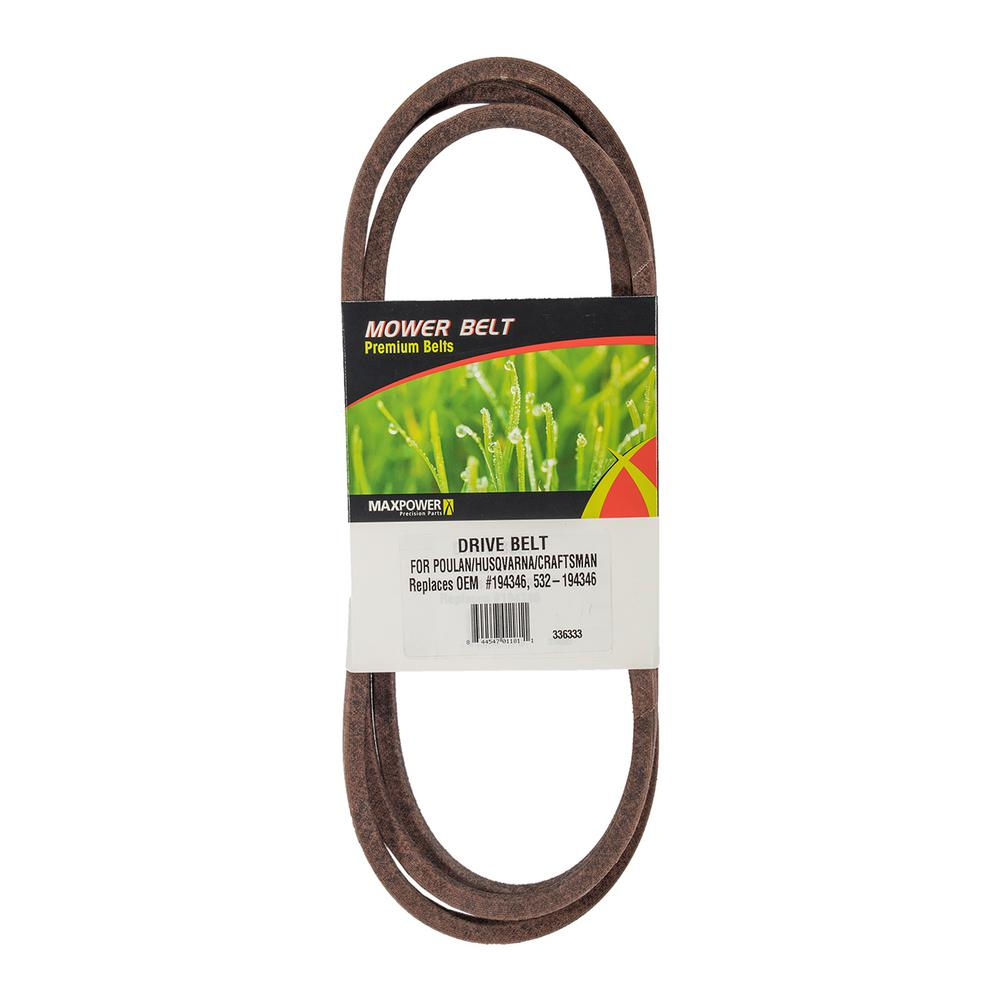 MaxPower Traction Drive Belt for Craftsman, Husqvarna, Poulan Mowers Replaces OEM #'s 194346 and 532194346