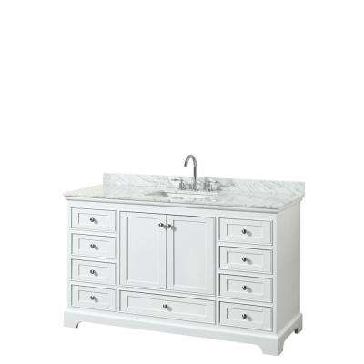 Deborah 60 in. W x 22 in. D Vanity in White with Marble Vanity Top in Carrara White with White Basin