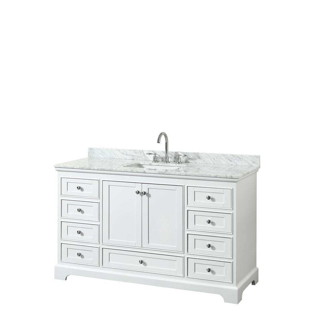 Deborah 60 in. W x 22 in. D Vanity in White with Marble Vanity Top in Carrara White with White Basin