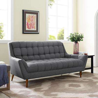 Response Gray Upholstered Fabric Loveseat