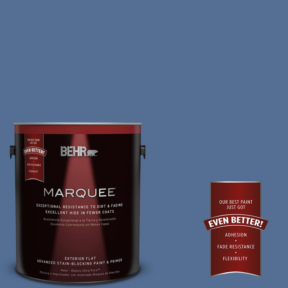 BEHR MARQUEE 1-gal. #M530-6 Charter Blue Flat Exterior Paint