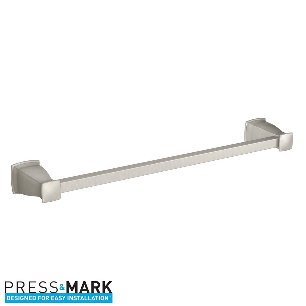 Hensley 18 in. Towel Bar with Press and Mark in Brushed