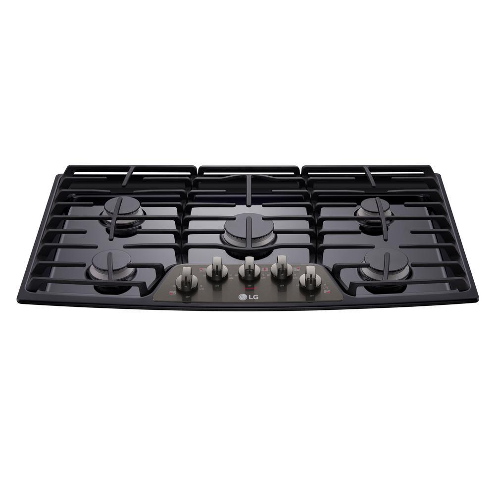 36 in. Recessed Gas Cooktop in Black Stainless Steel with 5 Burners including 17K SuperBoil Burner