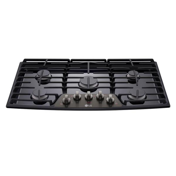 36 in. Recessed Gas Cooktop in Black Stainless Steel with 5 Burners including 17K SuperBoil Burner