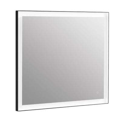 35 in. x 32 in. Framed Single Rectangle Bathroom LED Mirror with Warm and Cool Color Temperature in Aluminum