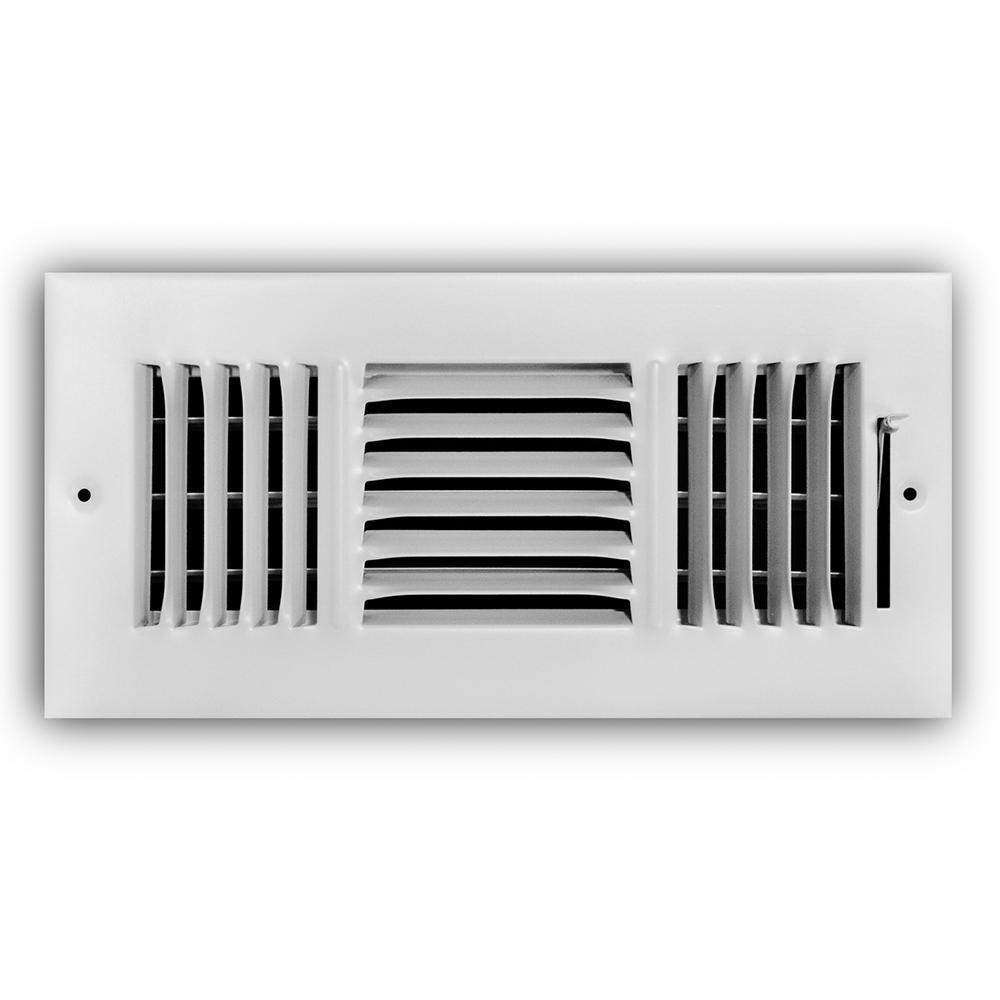 Everbilt Everbilt 10 in. x 4 in. 3-Way Wall/Ceiling Register, Powder Coat White