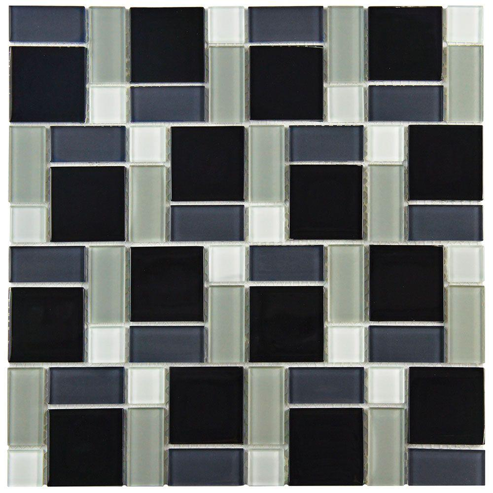 Merola Tile Spectrum Block Black and White 11-3/4 in. x 11-3/4 in. x 5 mm Glass Mosaic Tile