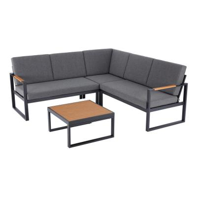 Pinnacle Park Black 4-Piece Wood Outdoor Sectional Set with Dark Grey Cushions