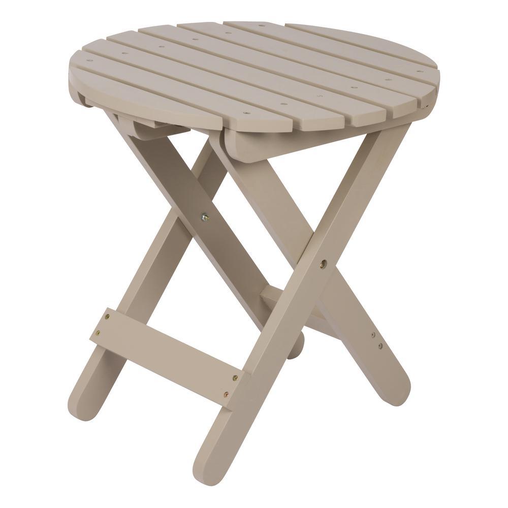 Adirondack Taupe Gray Round Wood Folding Table