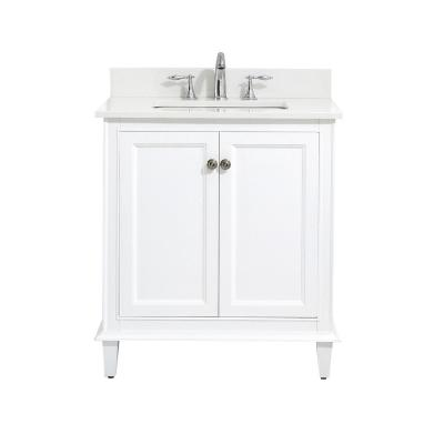 Riverpine 31 in. W x 22 in. D Vanity in White with Engineered Marble Top in Winter White with White Sink