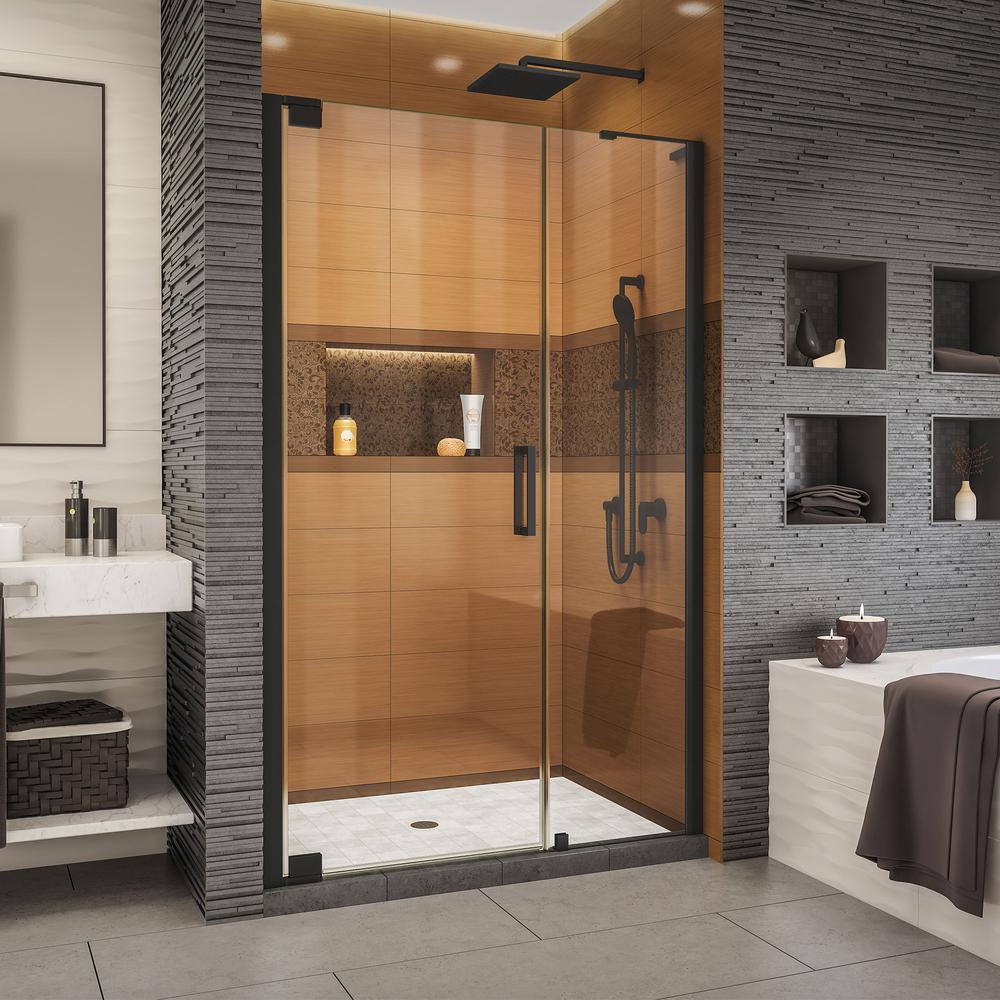 Elegance-LS 50 in. to 52 in. W x 72 in. H Frameless Pivot Shower Door in Satin Black