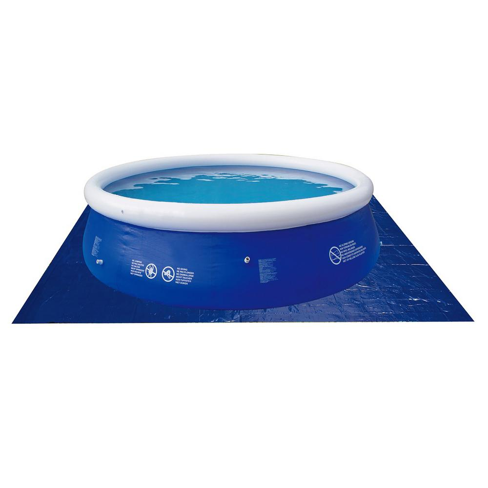 Pool Central 11 ft. Square Swimming Pool Protective Ground Cloth in Blue