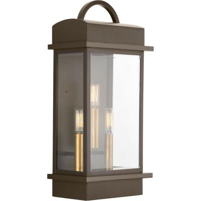 Santee Collection 3-Light Antique Bronze 19.6 in. Outdoor Wall Lantern Sconce
