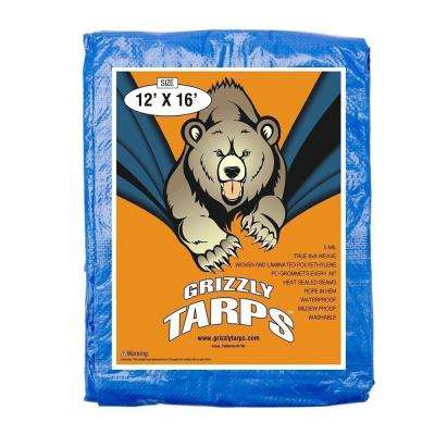 Grizzly 12 ft. x 16 ft. Blue Polyethylene Multi-Purpose Waterproof Tarp (10-Pack)
