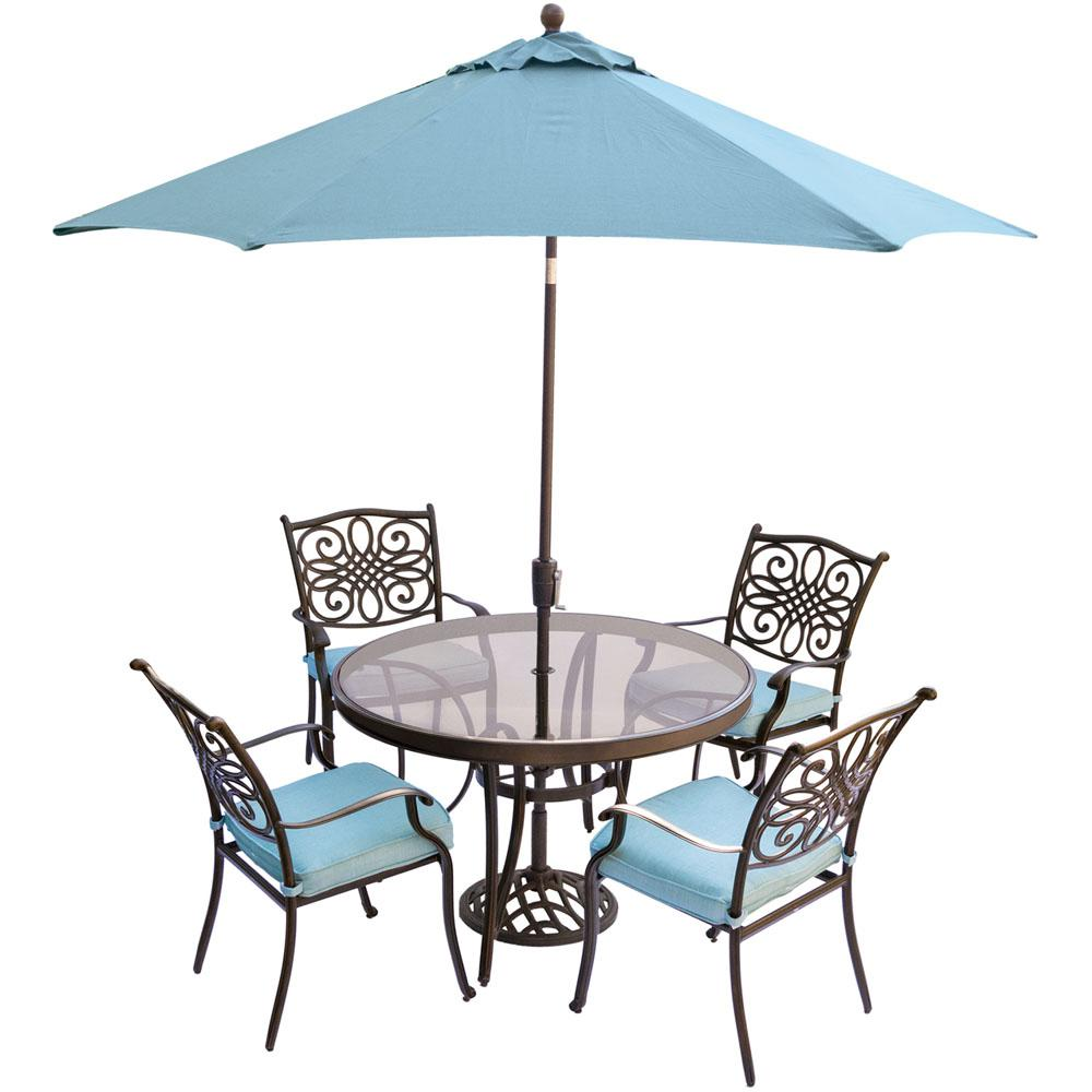 hanover traditions 5 piece aluminum outdoor dining set with round glass top table - Patio Table With Umbrella