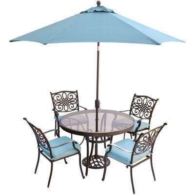 Traditions 5 Piece Aluminum Outdoor Dining Set With Round Gl Top Table Umbrella