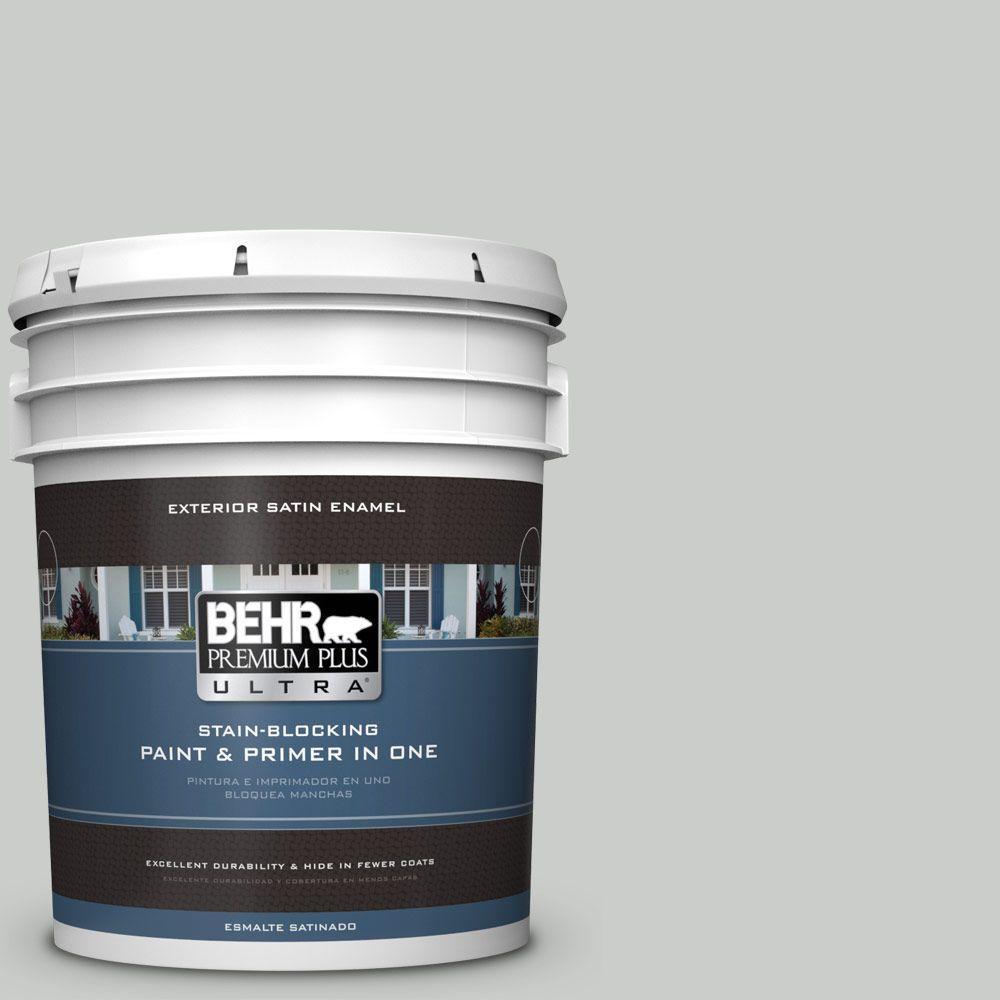 BEHR Premium Plus Ultra 5-gal. #PWL-89 Silver Setting Satin Enamel Exterior Paint