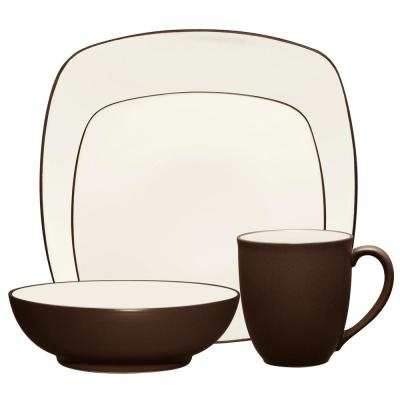 Colorwave Square 4-Piece Casual Chocolate Stoneware Dinnerware Set (Service for 1)