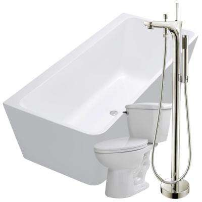 Strait 67 in. Acrylic Flatbottom Non-Whirlpool Bathtub in White with Kase Faucet and Kame 1.28 GPF Toilet