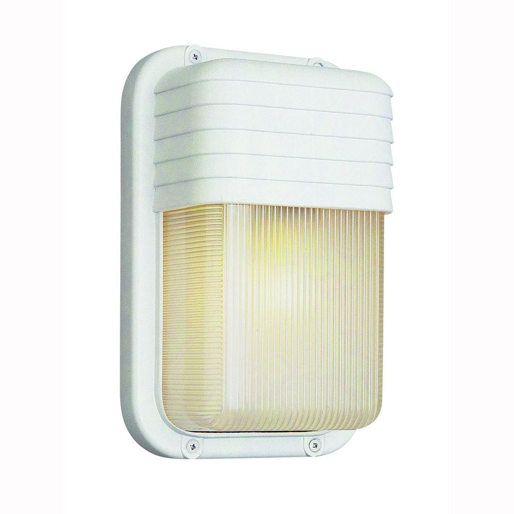 Bulkhead 1-Light Outdoor White Wall or Ceiling Fixture with Clear Polycarbonate